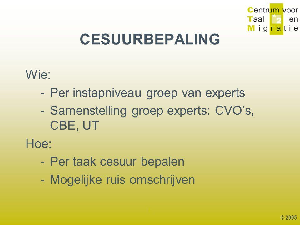 © 2005 1 CESUURBEPALING Wie: -Per instapniveau groep van experts -Samenstelling groep experts: CVO's, CBE, UT Hoe: -Per taak cesuur bepalen -Mogelijke ruis omschrijven