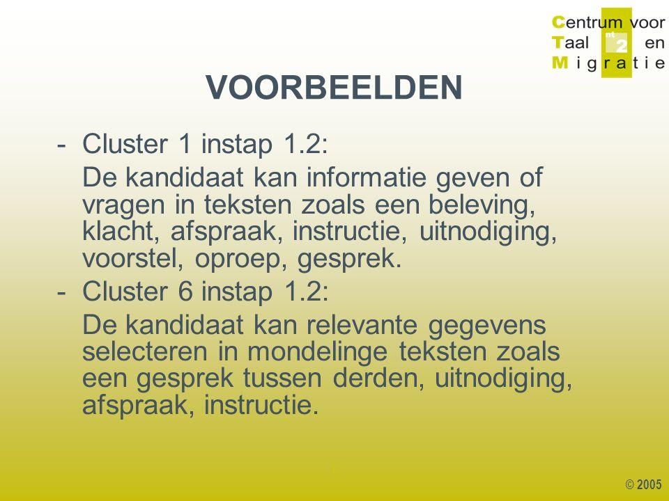 © 2005 1 - Cluster 1 instap 1.2: De kandidaat kan informatie geven of vragen in teksten zoals een beleving, klacht, afspraak, instructie, uitnodiging, voorstel, oproep, gesprek.