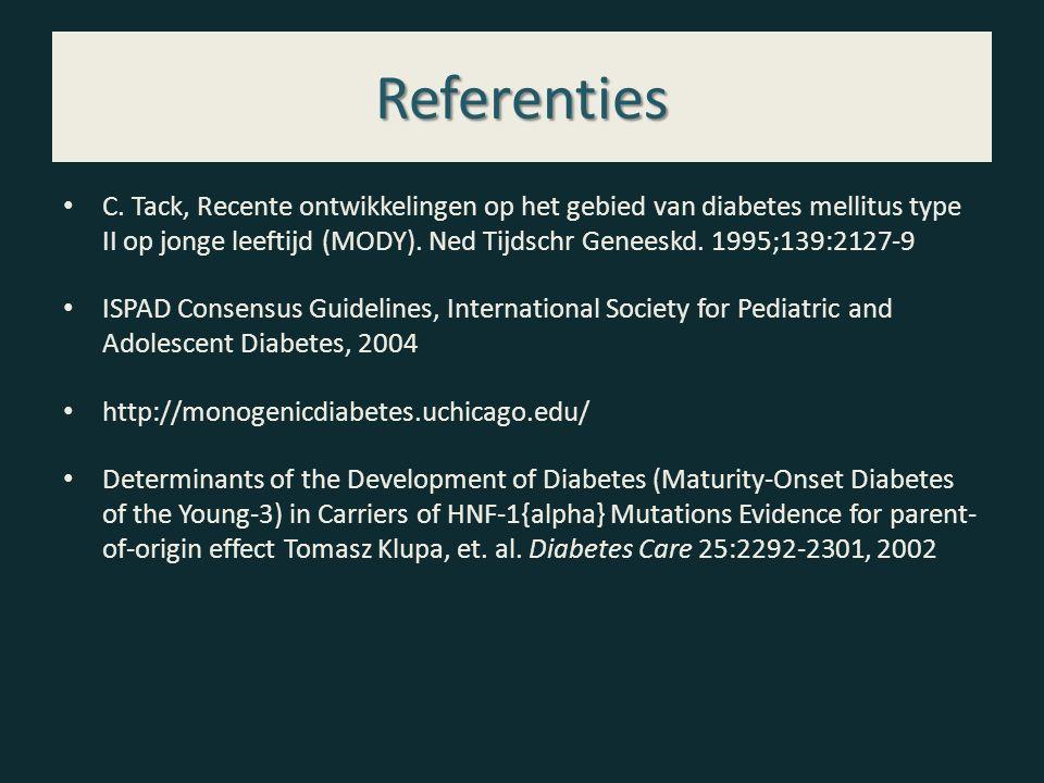Referenties C. Tack, Recente ontwikkelingen op het gebied van diabetes mellitus type II op jonge leeftijd (MODY). Ned Tijdschr Geneeskd. 1995;139:2127