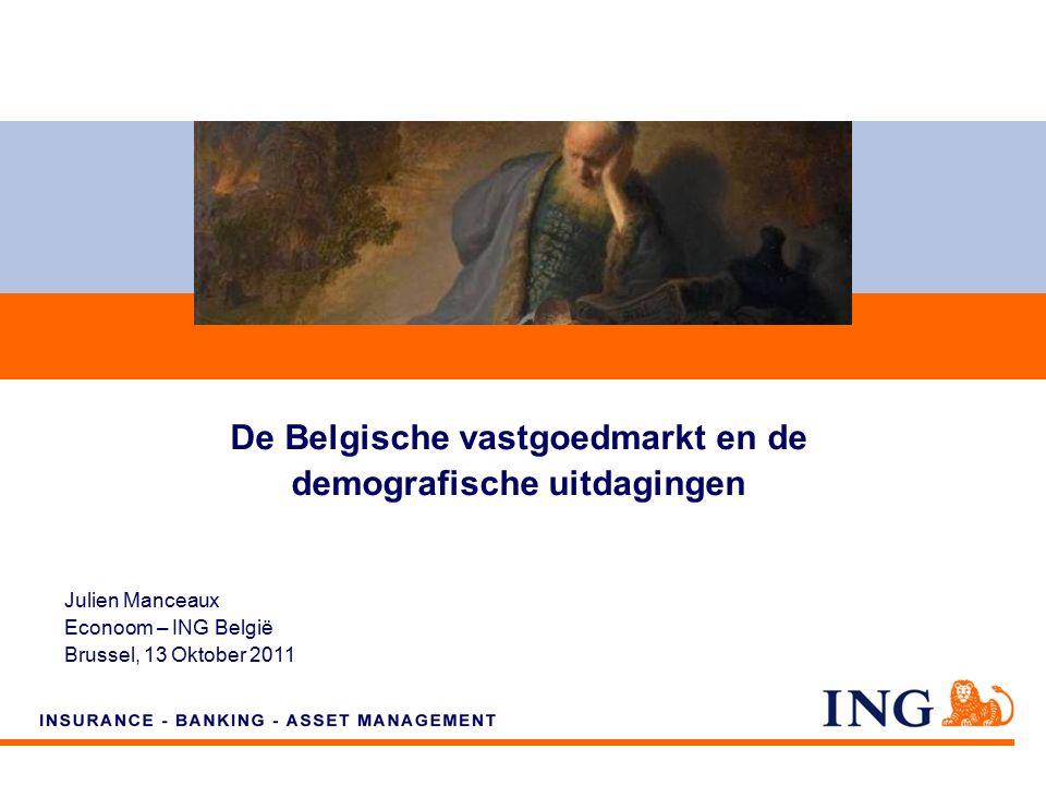 Do not put content on the brand signature area Orange RGB= 255,102,000 Light blue RGB= 180,195,225 Dark blue RGB= 000,000,102 Grey RGB= 150,150,150 ING colour balance Guideline www.ing-presentations.intranet Economic Research – ING Belgium12 Maar er zijn verschillen tussen de gewesten (2) In Brussel wordt de kloof breder......