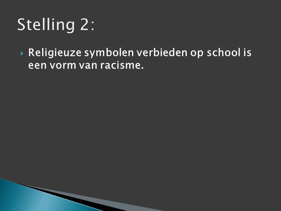  Religieuze symbolen verbieden op school is een vorm van racisme.