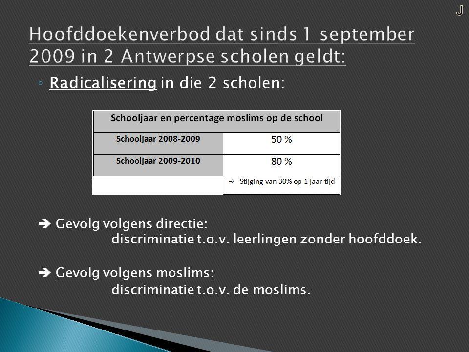 ◦ Radicalisering in die 2 scholen:  Gevolg volgens directie: discriminatie t.o.v.