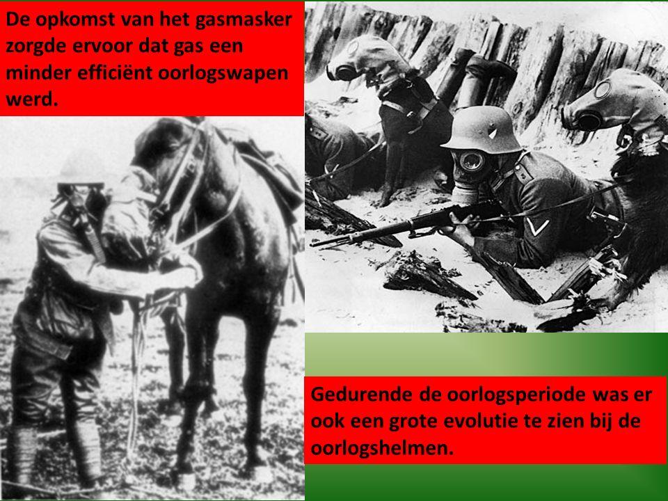 De opkomst van het gasmasker zorgde ervoor dat gas een minder efficiënt oorlogswapen werd. Gedurende de oorlogsperiode was er ook een grote evolutie t