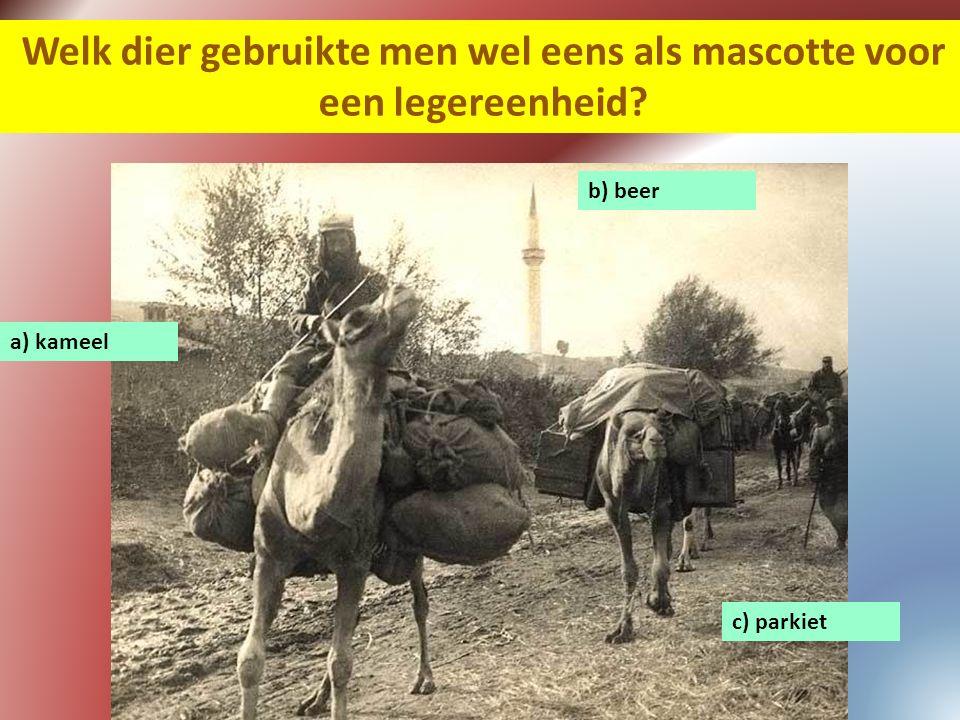 Welk dier gebruikte men wel eens als mascotte voor een legereenheid? a) kameel c) parkiet b) beer