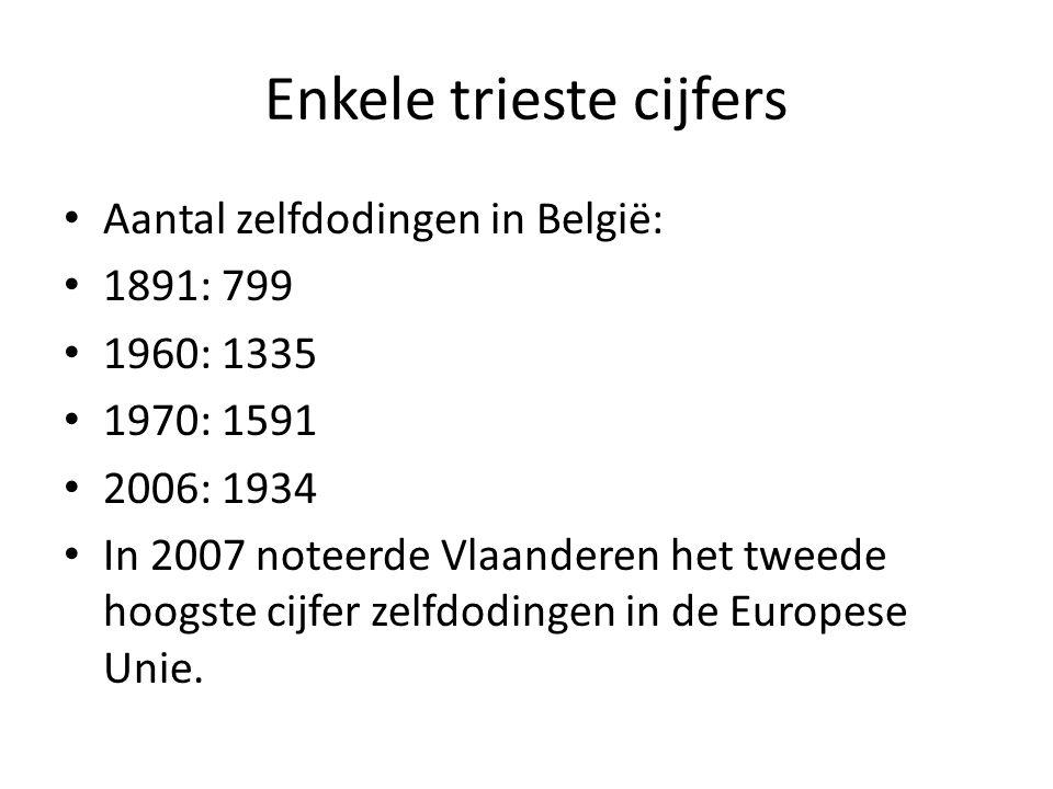 Enkele trieste cijfers Aantal zelfdodingen in België: 1891: 799 1960: 1335 1970: 1591 2006: 1934 In 2007 noteerde Vlaanderen het tweede hoogste cijfer zelfdodingen in de Europese Unie.
