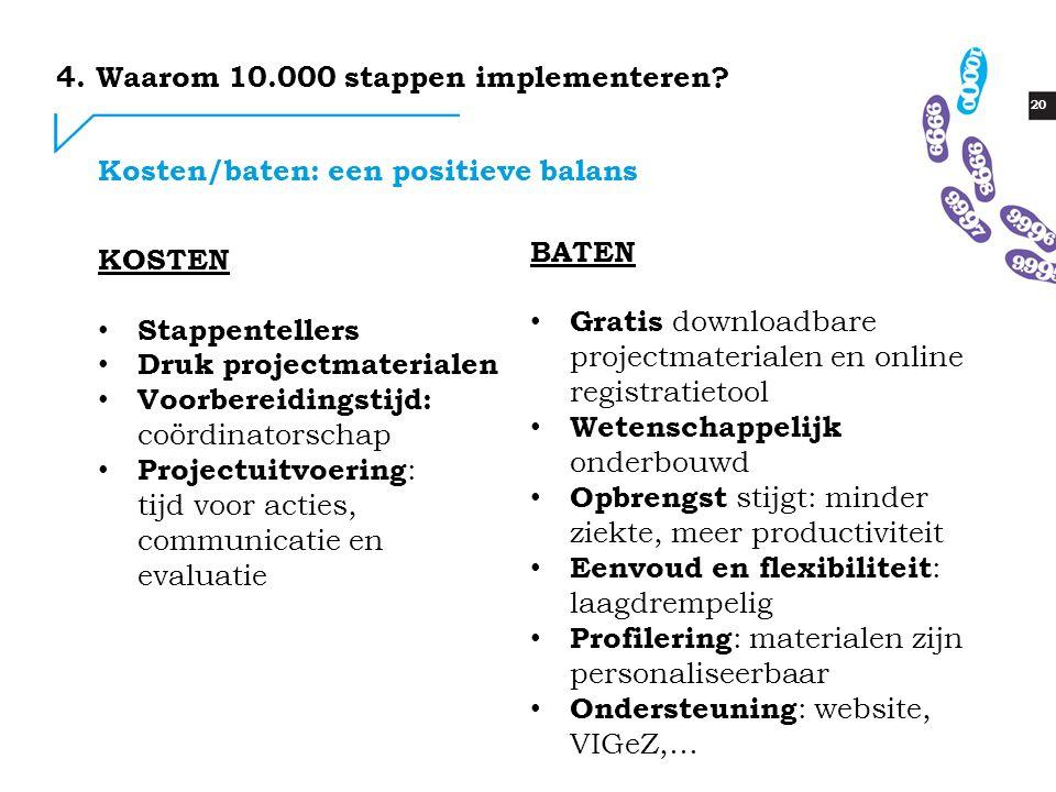 20 Kosten/baten: een positieve balans 4. Waarom 10.000 stappen implementeren? KOSTEN Stappentellers Druk projectmaterialen Voorbereidingstijd: coördin