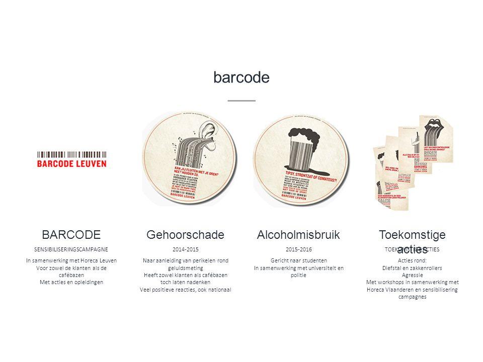 barcode In samenwerking met Horeca Leuven Voor zowel de klanten als de cafébazen Met acties en opleidingen BARCODE SENSIBILISERINGSCAMPAGNE Naar aanle