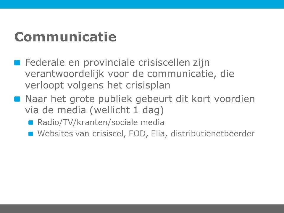 Communicatie Federale en provinciale crisiscellen zijn verantwoordelijk voor de communicatie, die verloopt volgens het crisisplan Naar het grote publi
