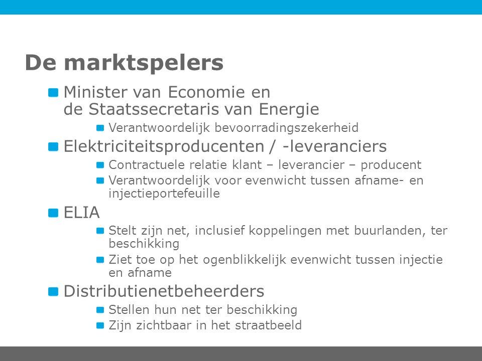 De marktspelers Minister van Economie en de Staatssecretaris van Energie Verantwoordelijk bevoorradingszekerheid Elektriciteitsproducenten / -leveranc