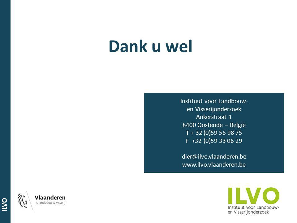 ILVO Dank u wel Instituut voor Landbouw- en Visserijonderzoek Ankerstraat 1 8400 Oostende – België T + 32 (0)59 56 98 75 F +32 (0)59 33 06 29 dier@ilv