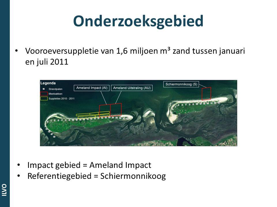 ILVO Onderzoeksgebied Vooroeversuppletie van 1,6 miljoen m³ zand tussen januari en juli 2011 Impact gebied = Ameland Impact Referentiegebied = Schierm