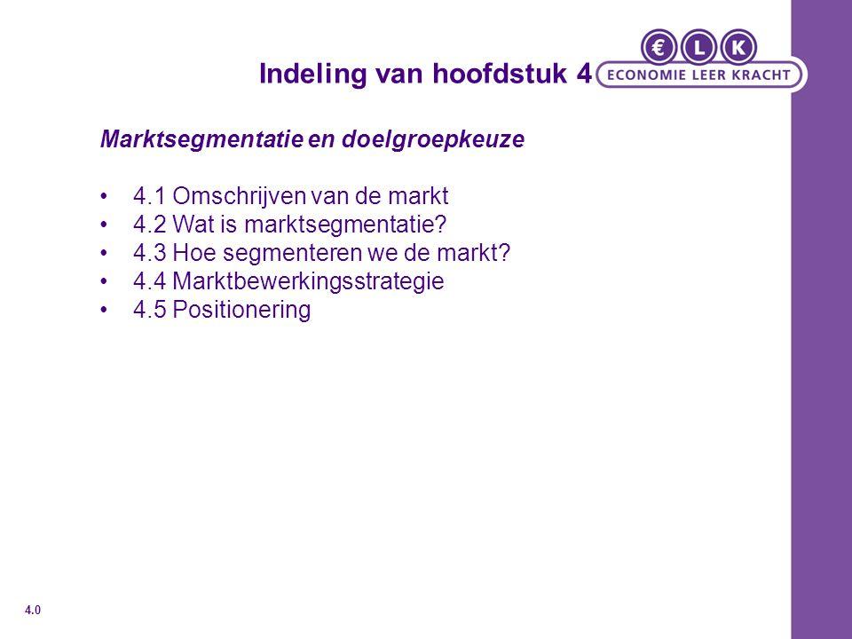 Indeling van hoofdstuk 4 Marktsegmentatie en doelgroepkeuze 4.1 Omschrijven van de markt 4.2 Wat is marktsegmentatie? 4.3 Hoe segmenteren we de markt?