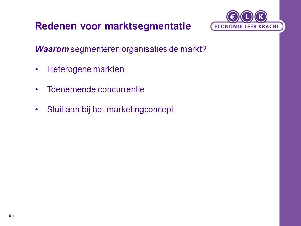 Redenen voor marktsegmentatie Waarom segmenteren organisaties de markt? Heterogene markten Toenemende concurrentie Sluit aan bij het marketingconcept