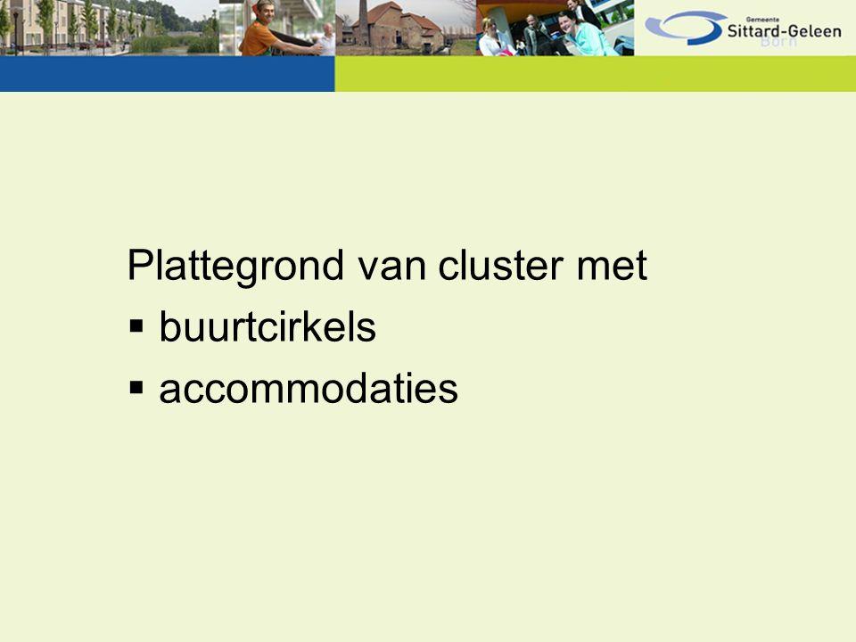 Plattegrond van cluster met  buurtcirkels  accommodaties