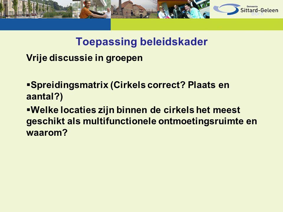Toepassing beleidskader Vrije discussie in groepen  Spreidingsmatrix (Cirkels correct.