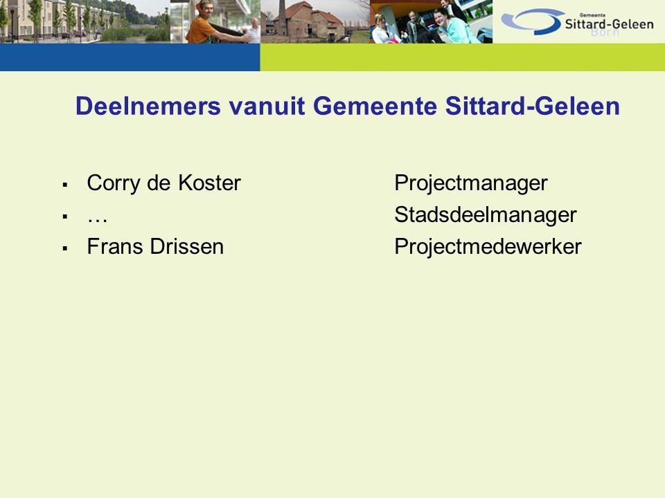 Deelnemers vanuit Gemeente Sittard-Geleen  Corry de Koster Projectmanager  …Stadsdeelmanager  Frans DrissenProjectmedewerker