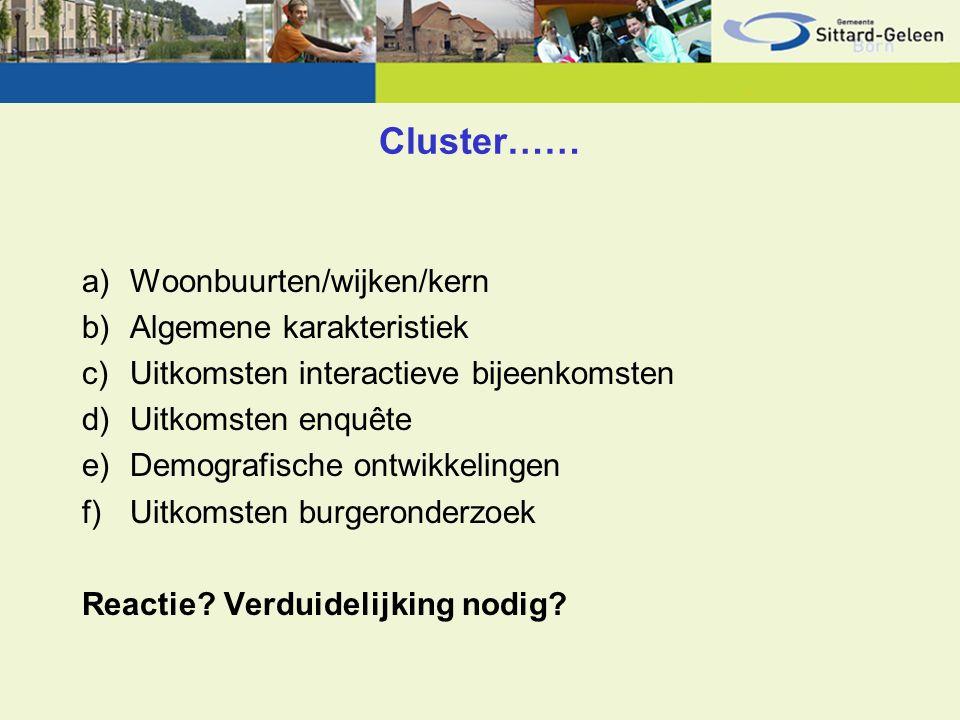 Cluster…… a)Woonbuurten/wijken/kern b)Algemene karakteristiek c)Uitkomsten interactieve bijeenkomsten d)Uitkomsten enquête e)Demografische ontwikkelingen f)Uitkomsten burgeronderzoek Reactie.