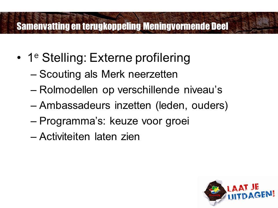 Samenvatting en terugkoppeling Meningvormende Deel 1 e Stelling: Externe profilering –Scouting als Merk neerzetten –Rolmodellen op verschillende niveau's –Ambassadeurs inzetten (leden, ouders) –Programma's: keuze voor groei –Activiteiten laten zien
