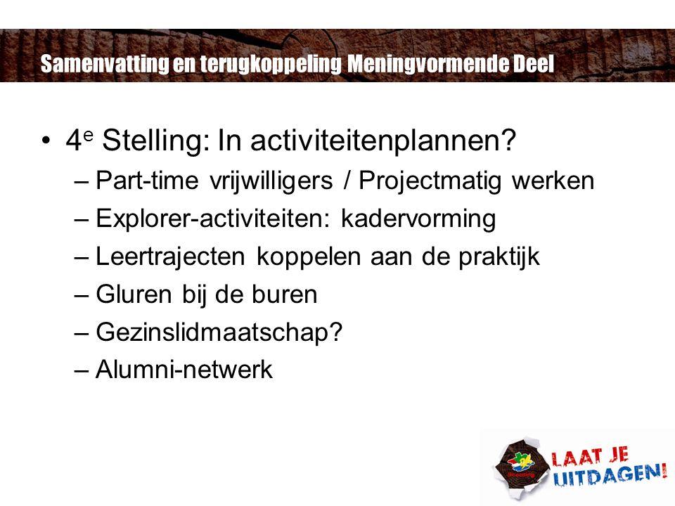 Samenvatting en terugkoppeling Meningvormende Deel 4 e Stelling: In activiteitenplannen.