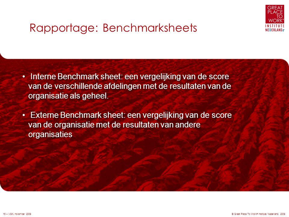 Rapportage: Benchmarksheets © Great Place To Work ® Institute Nederland, 200915 – VGN, november 2009 Interne Benchmark sheet: een vergelijking van de score van de verschillende afdelingen met de resultaten van de organisatie als geheel.