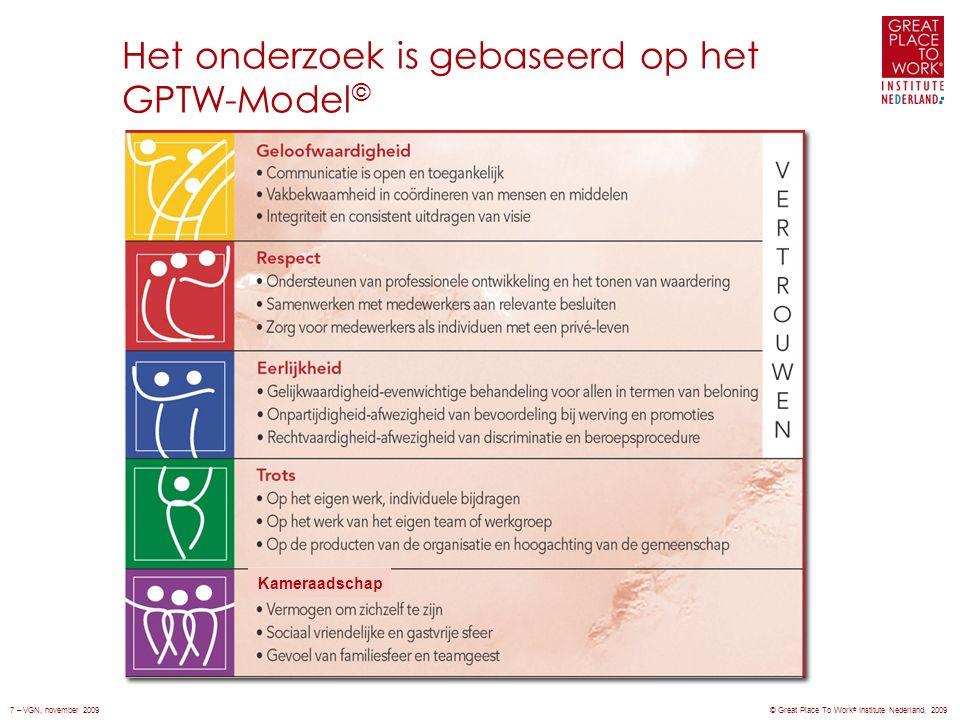 Het onderzoek is gebaseerd op het GPTW-Model © Kameraadschap © Great Place To Work ® Institute Nederland, 20097 – VGN, november 2009