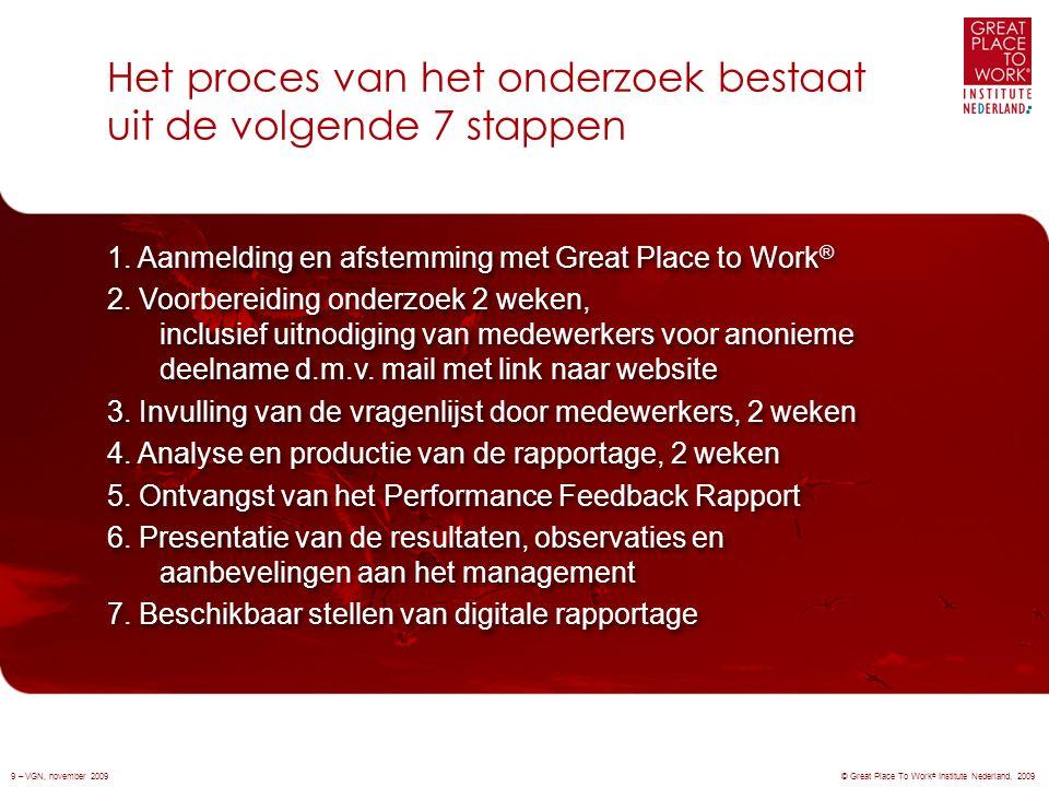 Het proces van het onderzoek bestaat uit de volgende 7 stappen © Great Place To Work ® Institute Nederland, 20099 – VGN, november 2009 1.