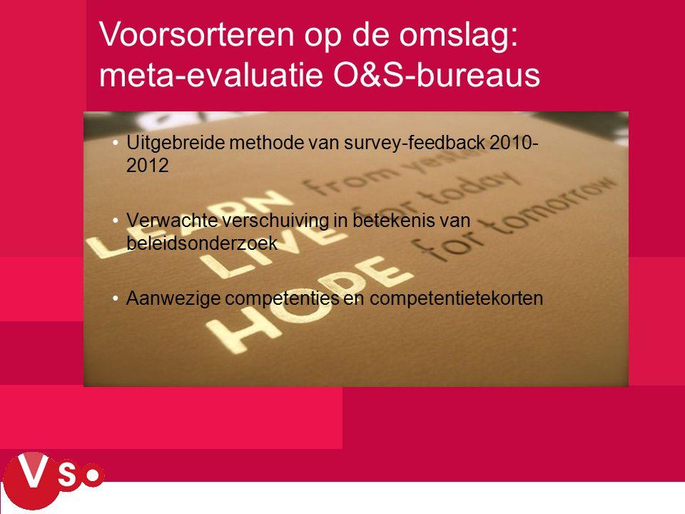 Voorsorteren op de omslag: meta-evaluatie O&S-bureaus Uitgebreide methode van survey-feedback 2010- 2012 Verwachte verschuiving in betekenis van beleidsonderzoek Aanwezige competenties en competentietekorten