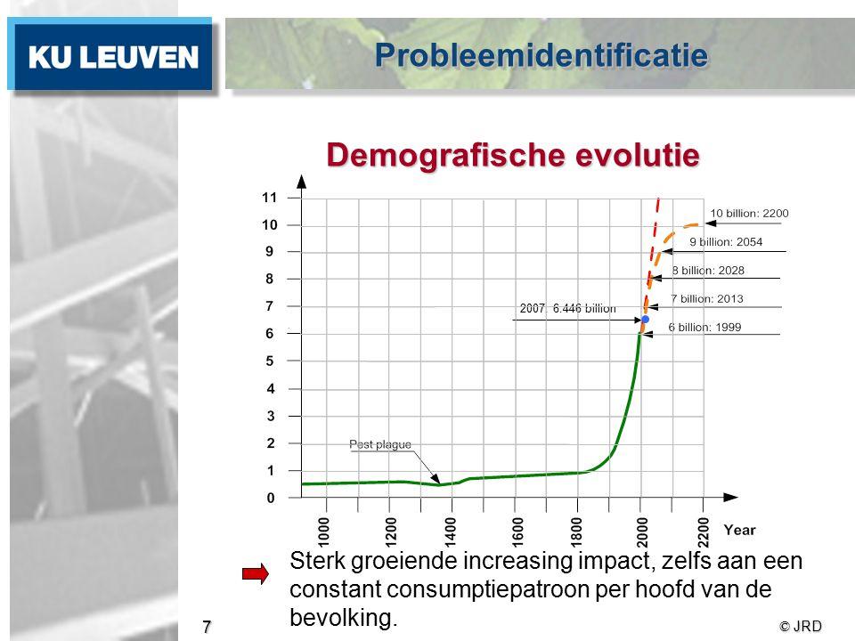 © JRD 7 Demografische evolutie Sterk groeiende increasing impact, zelfs aan een constant consumptiepatroon per hoofd van de bevolking.