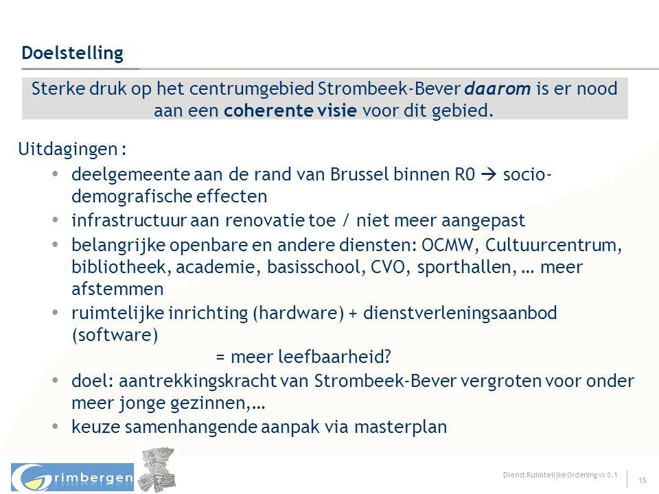 Dienst Ruimtelijke Ordening vs 0.1 15 Doelstelling Uitdagingen :  deelgemeente aan de rand van Brussel binnen R0  socio- demografische effecten  infrastructuur aan renovatie toe / niet meer aangepast  belangrijke openbare en andere diensten: OCMW, Cultuurcentrum, bibliotheek, academie, basisschool, CVO, sporthallen, … meer afstemmen  ruimtelijke inrichting (hardware) + dienstverleningsaanbod (software) = meer leefbaarheid.