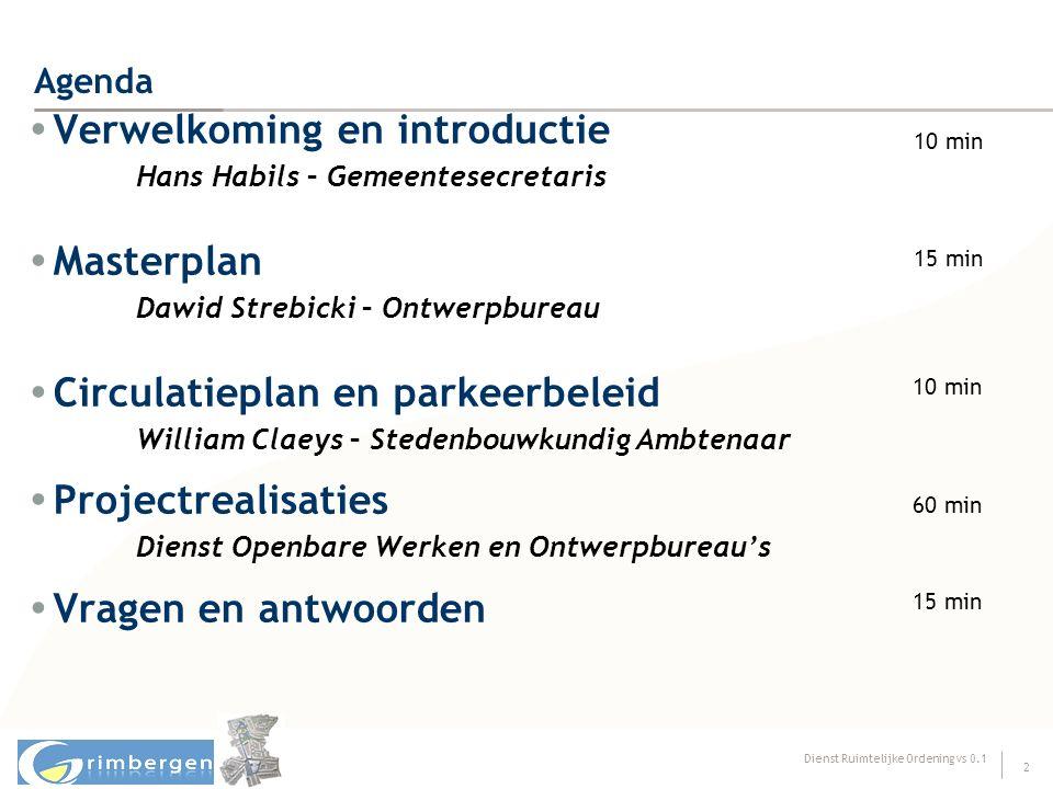 Dienst Ruimtelijke Ordening vs 0.1 2 Agenda  Verwelkoming en introductie Hans Habils – Gemeentesecretaris  Masterplan Dawid Strebicki – Ontwerpburea