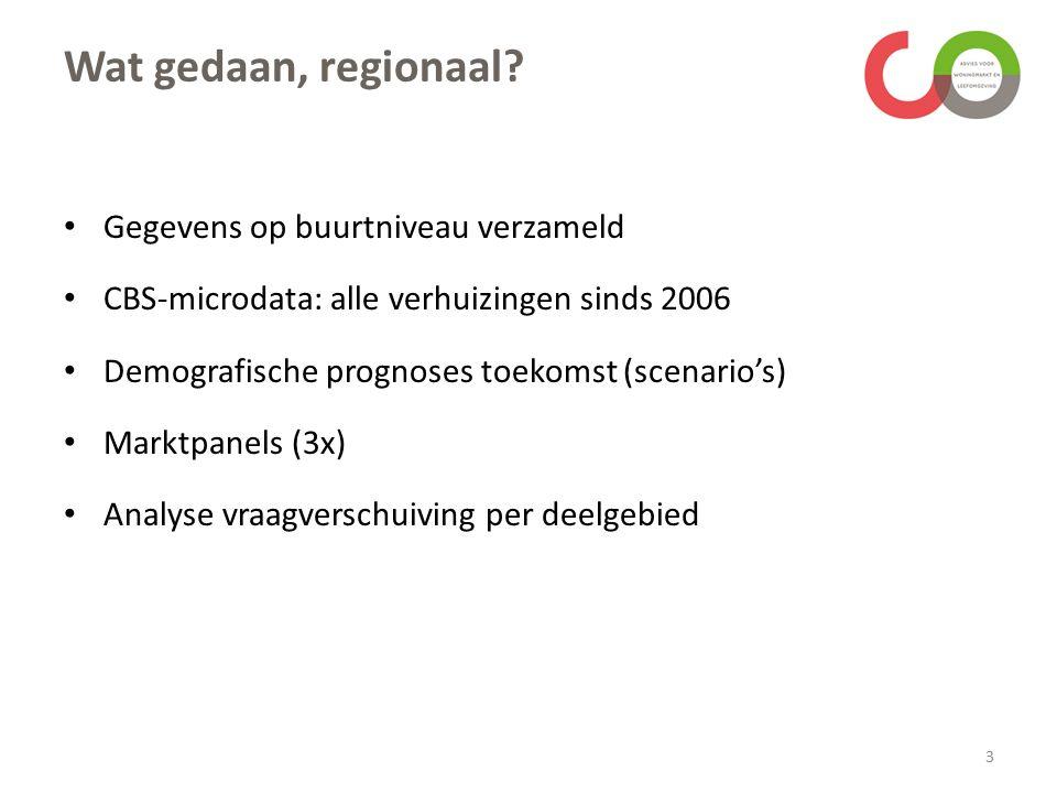 Wat gedaan, regionaal? Gegevens op buurtniveau verzameld CBS-microdata: alle verhuizingen sinds 2006 Demografische prognoses toekomst (scenario's) Mar