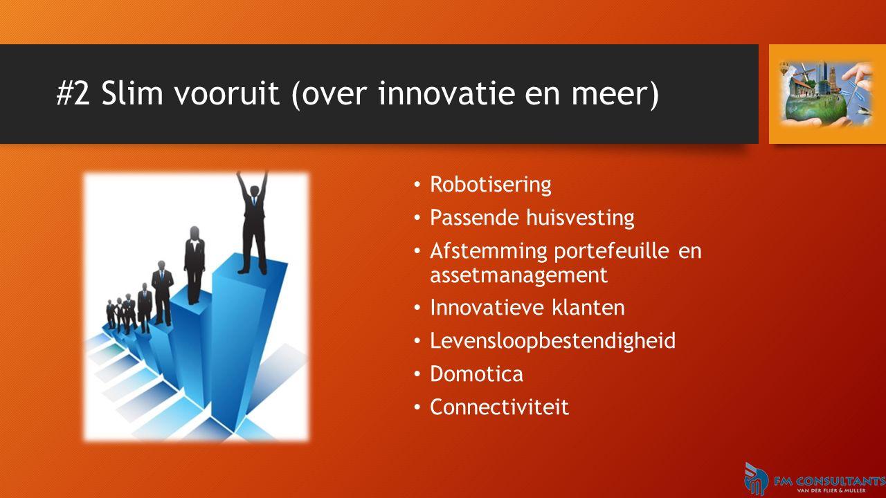 #2 Slim vooruit (over innovatie en meer) Robotisering Passende huisvesting Afstemming portefeuille en assetmanagement Innovatieve klanten Levensloopbestendigheid Domotica Connectiviteit