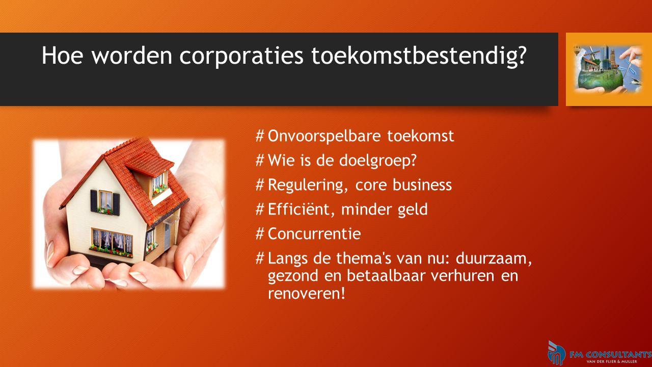 Hoe worden corporaties toekomstbestendig? #Onvoorspelbare toekomst #Wie is de doelgroep? #Regulering, core business #Efficiënt, minder geld #Concurren