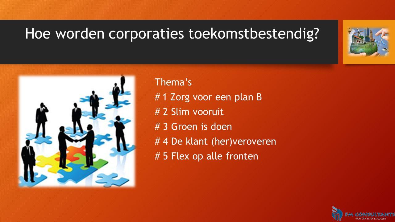 Hoe worden corporaties toekomstbestendig? Thema's #1 Zorg voor een plan B # 2 Slim vooruit # 3 Groen is doen # 4 De klant (her)veroveren # 5 Flex op a
