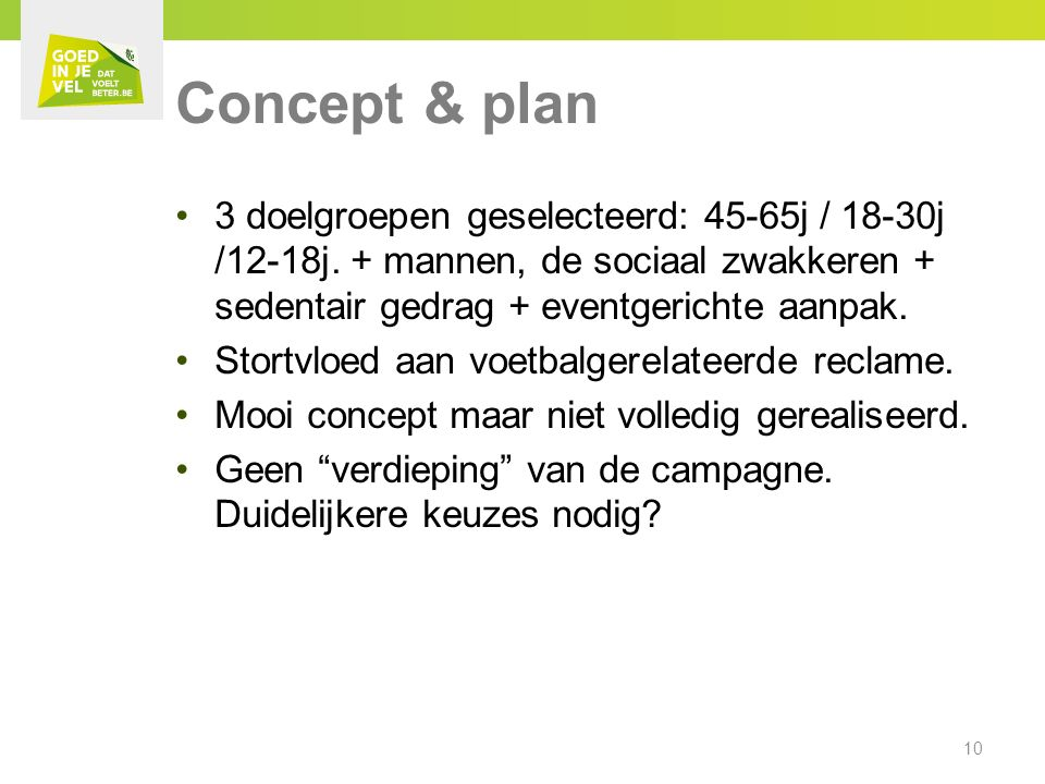 3 doelgroepen geselecteerd: 45-65j / 18-30j /12-18j.