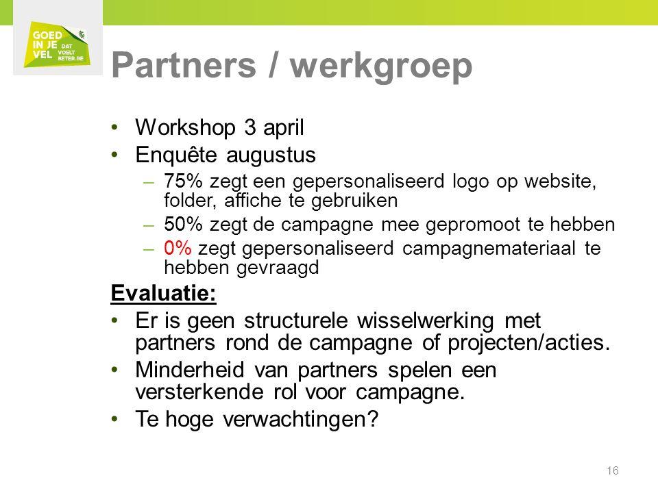 Partners / werkgroep Workshop 3 april Enquête augustus –75% zegt een gepersonaliseerd logo op website, folder, affiche te gebruiken –50% zegt de campagne mee gepromoot te hebben –0% zegt gepersonaliseerd campagnemateriaal te hebben gevraagd Evaluatie: Er is geen structurele wisselwerking met partners rond de campagne of projecten/acties.