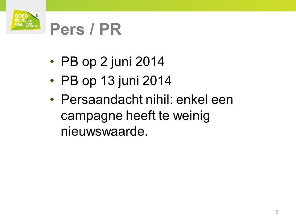 Pers / PR PB op 2 juni 2014 PB op 13 juni 2014 Persaandacht nihil: enkel een campagne heeft te weinig nieuwswaarde.
