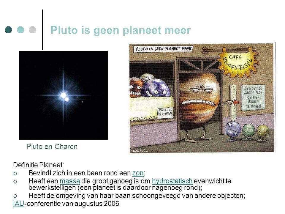 Pluto is geen planeet meer Definitie Planeet: Bevindt zich in een baan rond een zon;zon Heeft een massa die groot genoeg is om hydrostatisch evenwicht te bewerkstelligen (een planeet is daardoor nagenoeg rond);massahydrostatisch Heeft de omgeving van haar baan schoongeveegd van andere objecten; IAUIAU-conferentie van augustus 2006 Pluto en Charon