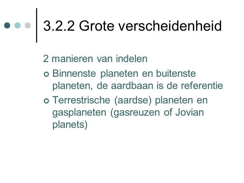 3.2.2 Grote verscheidenheid 2 manieren van indelen Binnenste planeten en buitenste planeten, de aardbaan is de referentie Terrestrische (aardse) planeten en gasplaneten (gasreuzen of Jovian planets)
