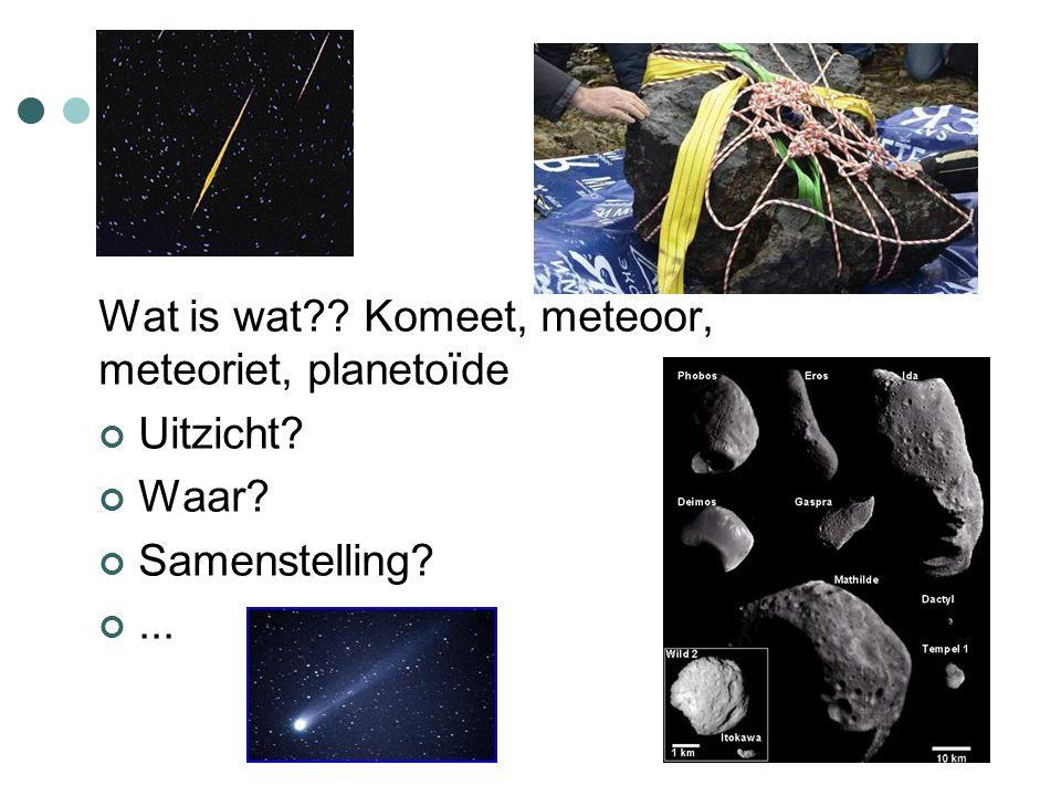 Wat is wat Komeet, meteoor, meteoriet, planetoïde Uitzicht Waar Samenstelling ...
