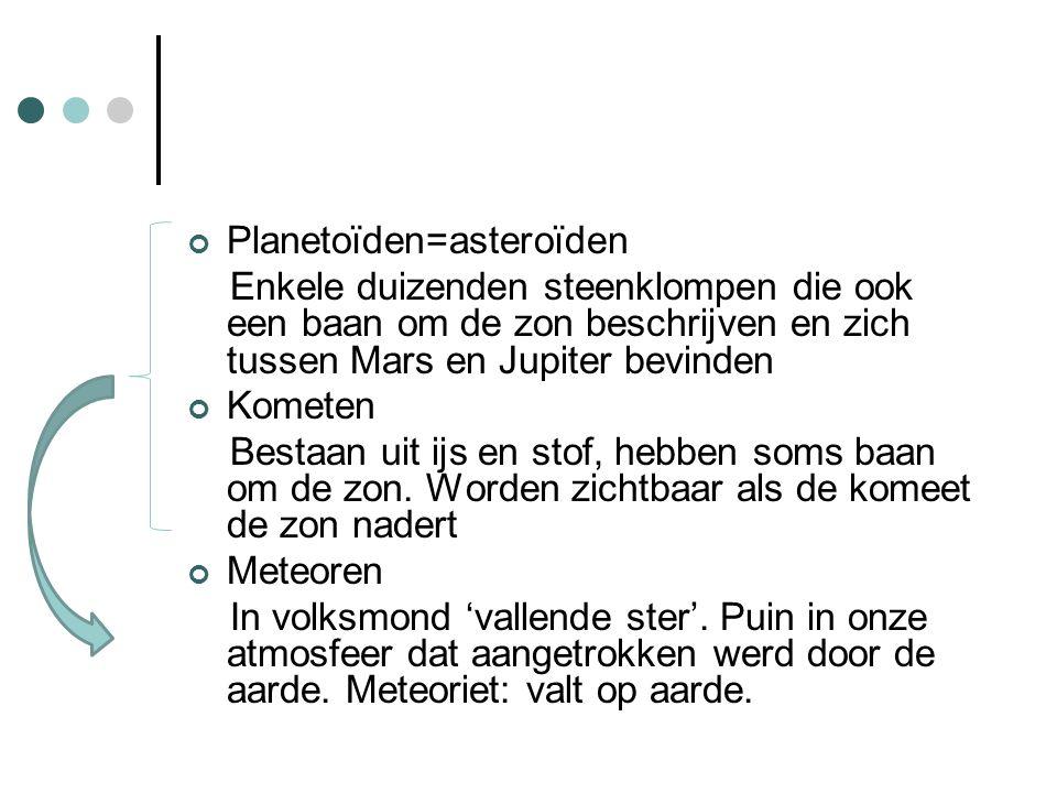 Planetoïden=asteroïden Enkele duizenden steenklompen die ook een baan om de zon beschrijven en zich tussen Mars en Jupiter bevinden Kometen Bestaan uit ijs en stof, hebben soms baan om de zon.