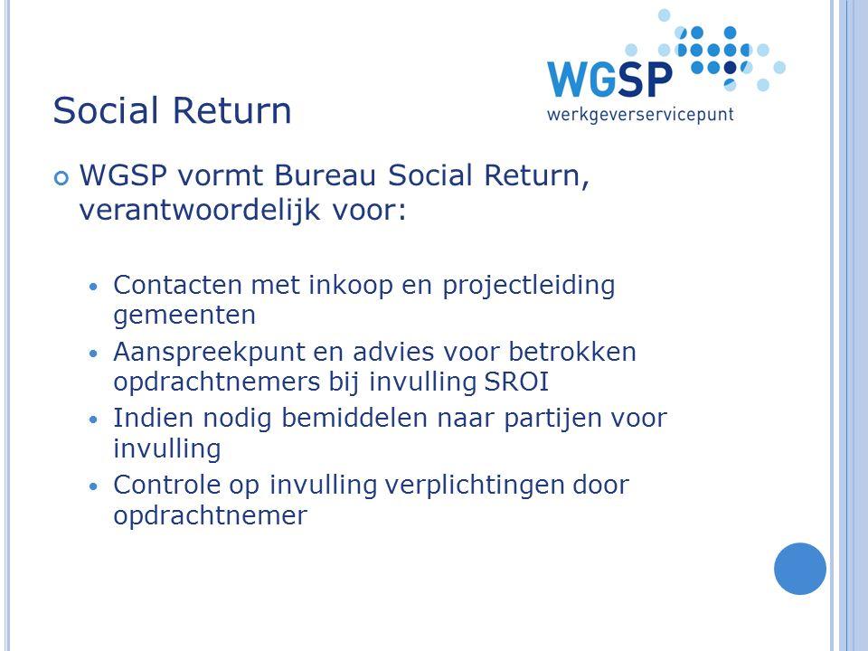 Social Return WGSP vormt Bureau Social Return, verantwoordelijk voor: Contacten met inkoop en projectleiding gemeenten Aanspreekpunt en advies voor be