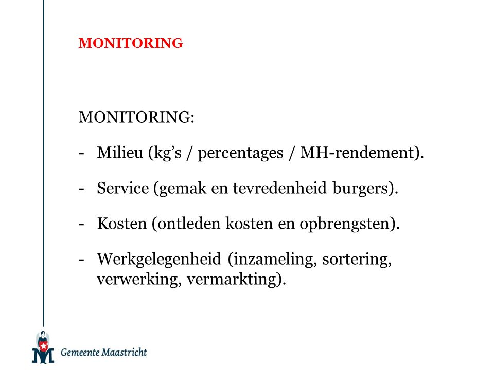 MONITORING MONITORING: -Milieu (kg's / percentages / MH-rendement).