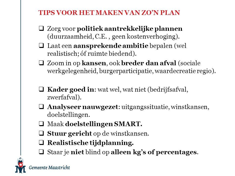  Zorg voor politiek aantrekkelijke plannen (duurzaamheid, C.E., geen kostenverhoging).