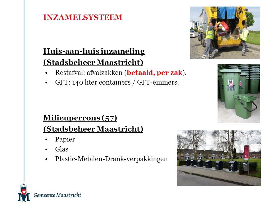 INZAMELSYSTEEM Huis-aan-huis inzameling (Stadsbeheer Maastricht) Restafval: afvalzakken (betaald, per zak). GFT: 140 liter containers / GFT-emmers. Mi