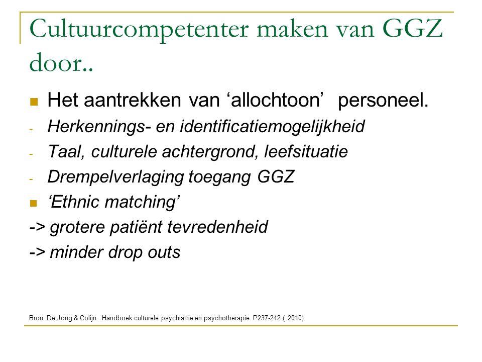 Cultuurcompetenter maken van GGZ door.. Het aantrekken van 'allochtoon' personeel. - Herkennings- en identificatiemogelijkheid - Taal, culturele achte
