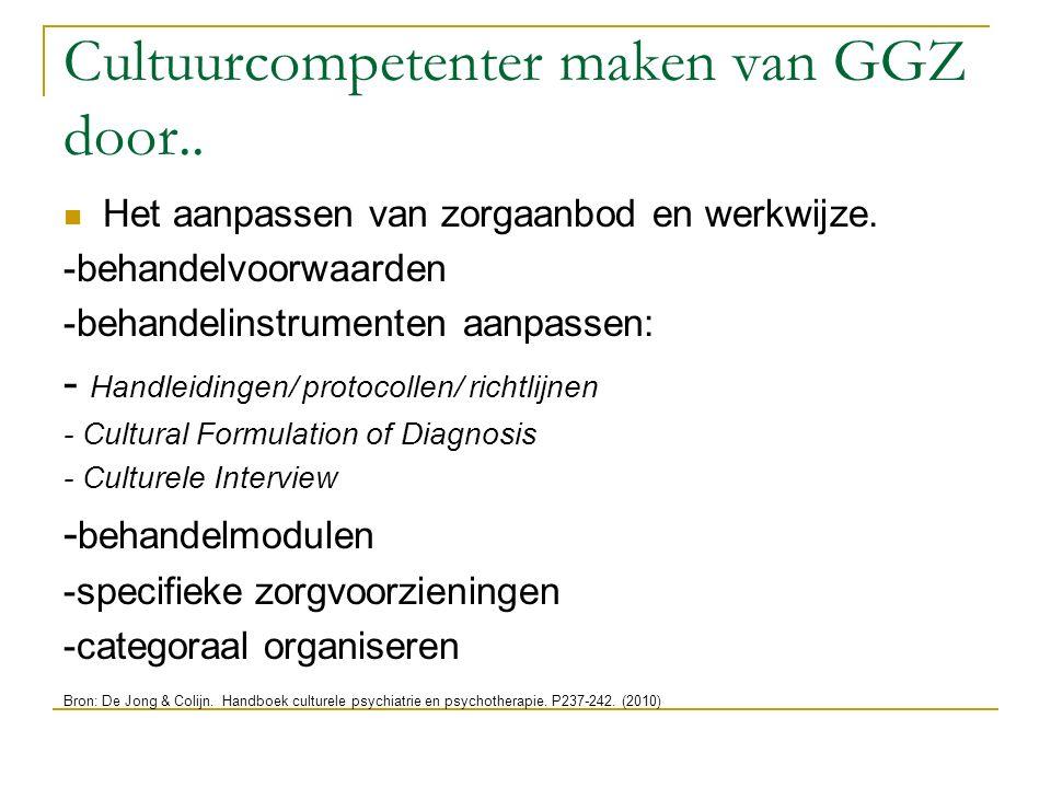 Cultuurcompetenter maken van GGZ door.. Het aanpassen van zorgaanbod en werkwijze. -behandelvoorwaarden -behandelinstrumenten aanpassen: - Handleiding