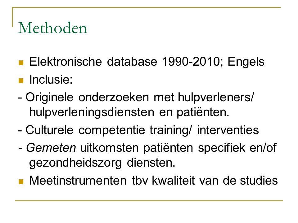Methoden Elektronische database 1990-2010; Engels Inclusie: - Originele onderzoeken met hulpverleners/ hulpverleningsdiensten en patiënten. - Culturel