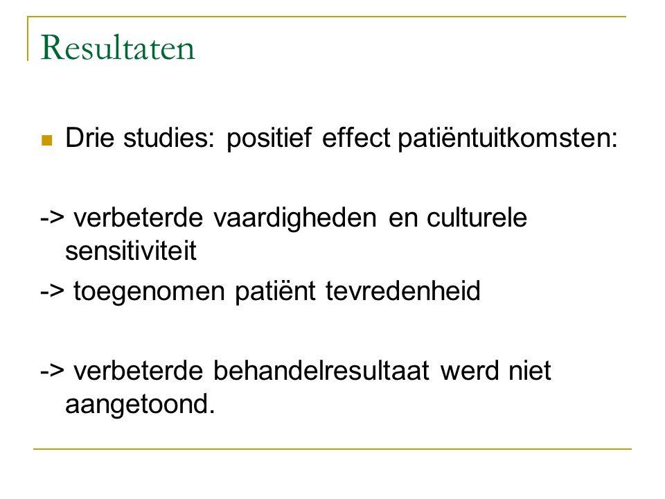 Resultaten Drie studies: positief effect patiëntuitkomsten: -> verbeterde vaardigheden en culturele sensitiviteit -> toegenomen patiënt tevredenheid -