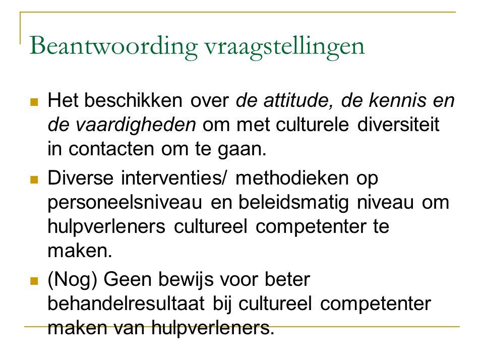 Beantwoording vraagstellingen Het beschikken over de attitude, de kennis en de vaardigheden om met culturele diversiteit in contacten om te gaan. Dive